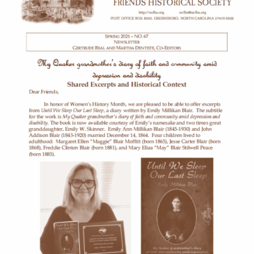 NCFHS Newsletter: My Quaker grandmother's diary of faith and community amid depression and disability